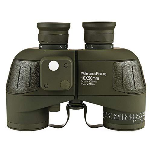 CESULIS High Definition Telescopio binoculares 10X50 High Times Alta Definición Telescopio Binocular Impermeable de Calidad Potente con brújula Digital,