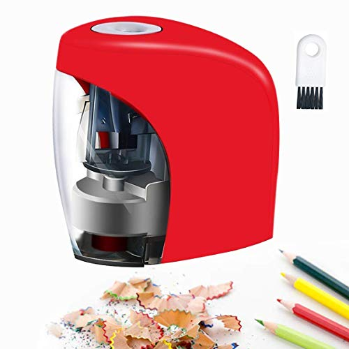 Baseman Electric Pencil Sharpener, Battery AC and USB Powered Pencils Sharpener for NO.2 and Colored Pencil Kids Adults Stationery Automatic Heavy Duty Fast Sacapuntas for Office, Classroom, Home Red