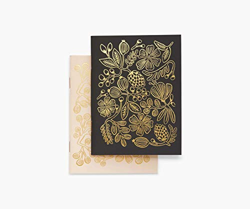 Rifle Paper Co. Gold Foil Pocket Notebook Set, Set of 2 Notebooks, 32 Blank Pages, Metallic Gold Foil With Saddle-Stitched Binding