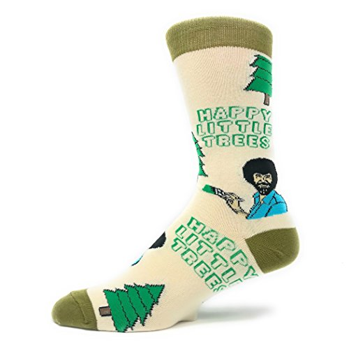 Men's Novelty Crew Socks, Exclusive Funny Socks for Bob Ross, Crazy Socks (Happy Little Tree)