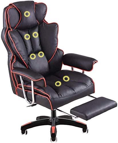 Silla para juegos, masaje de espalda, reposapiés, computadora, silla de jugador de carreras, escritorio, respaldo alto, silla de oficina, reposacabezas, soporte lumbar, cojín para arrodillarse (color: