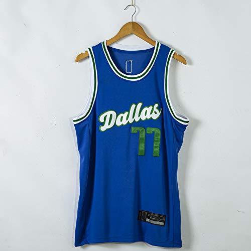 Ropa De Baloncesto para Hombre, NBA Dallas Mavericks # 77 Luka Doncic Basketball Jersey, Camisa De Chalecos Sin Mangas Bordados Transpirable,Azul,S(165~170cm)