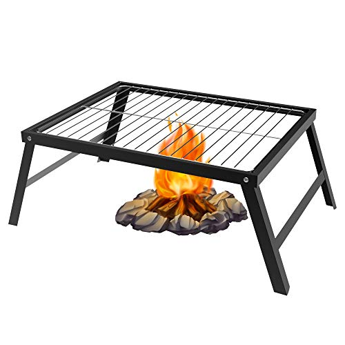 SENXILLER Foldable Campfire Grill - Easy to Clean The Detachable 304 Stainless Steel Grate, Camping Barbecue Grate for Grilling & Cooking Directly, Outdoor Campfire Ideal Barbecue Grill (Black)