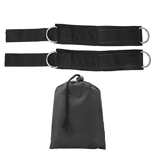 Qiilu 1 paar enkelband, sportweerstand Oefening D-vorm ringgesp Enkelband Training beschermende uitrusting(Zwart + zilverwit)