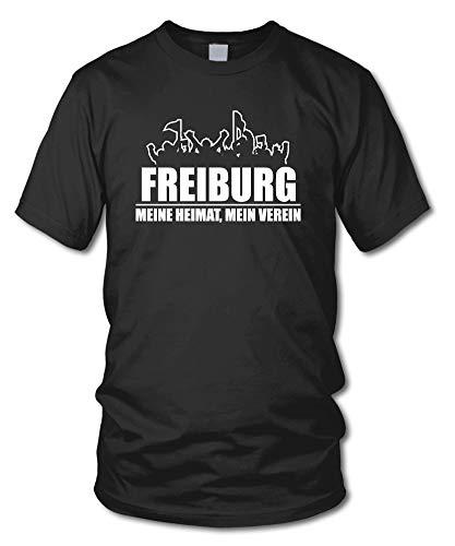 shirtloge - Freiburg - Fanblock - Meine Heimat, Mein Verein - Fussball Fan T-Shirt - Schwarz - Größe M