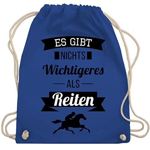 Shirtracer Pferde & Reiten Kind - Es gibt nichts Wichtigeres als Reiten - Unisize - Royalblau - geschenk für pferdeliebhaber - WM110 - Turnbeutel und Stoffbeutel aus Baumwolle