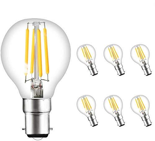 Svater 4W G45 B22 Ampoule LED à Filament Non Dimmable Bougie Ampoule 2700K Blanc Chaud Équivalent 40W Ampoule Incandescence 360 Degrés Angle Lot de 6