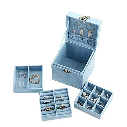 Caja Decorativa, aretes Simples, joyería de Mano, Caja de Almacenamiento de Joyas, Caja de joyería de Tres Capas, Utilizada para Anillos de Damas y niñas, Caja de Almacenamiento de Pulseras,
