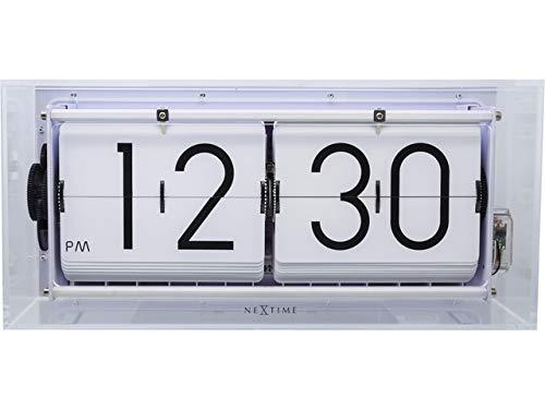 NeXtime Big Flip Clear Wecker, Metall und Kunststoff, Transparent, Ø 36 cm
