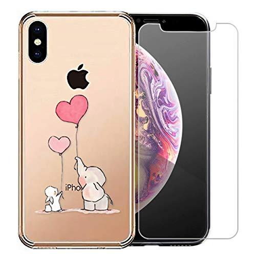 Preisvergleich Produktbild Laixin iPhone XR Hülle Transparent Silikon Handyhülle Case Cover Durchsichtig Antikratz Schutzhülle + Free [Gehärtetes Glas Displayschutzfolie],  Elefant und Kaninchen