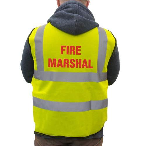Supreme gedrukte brandweer Marshal Hi-VIS hoge zichtbaarheid veiligheidsvest vest vest vest - geel - Medium