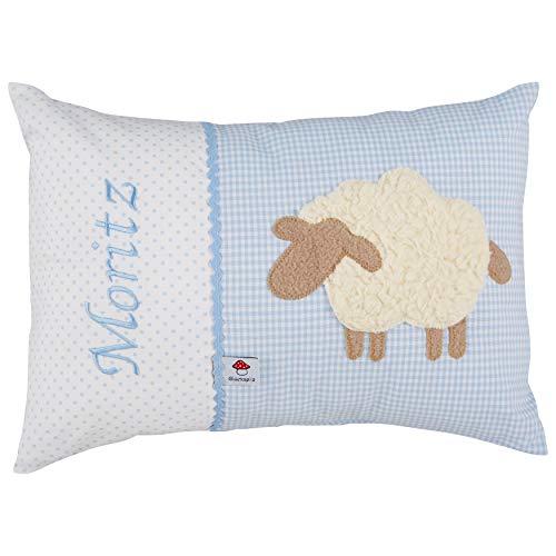 Glückspilz Namenskissen Babykissen I Schaf I Hellblau I 30 x 45 cm