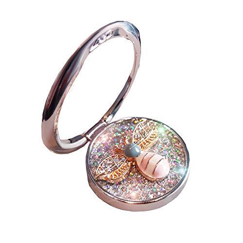 GSY Soporte para anillo de dedo para teléfono celular, rotación de 360°, soporte de anillo con piedra de cristal esmaltado abeja compatible con iPhone 12 y Android Samsung Smartphones (platead