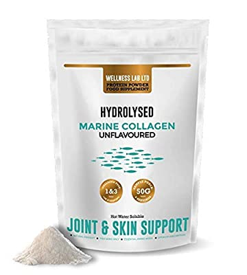 Wellness Lab Protein Powder Food Supplement   Marine Collagen Peptides for Joint, Muscles & Skin Support   100% Natural, UK Made, No Sugar or Additives   Use in Coffee or Latte   50g Sample