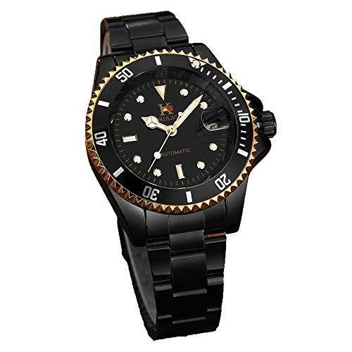 AOKULASIC Herren-Armbanduhr, automatisch, mechanisch, Edelstahl, 30 m wasserdicht, klassische Datumsanzeige.