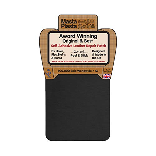 MastaPlasta Self-Adhesive Patch for Leather and Vinyl Repair, XL Plain, Black -...
