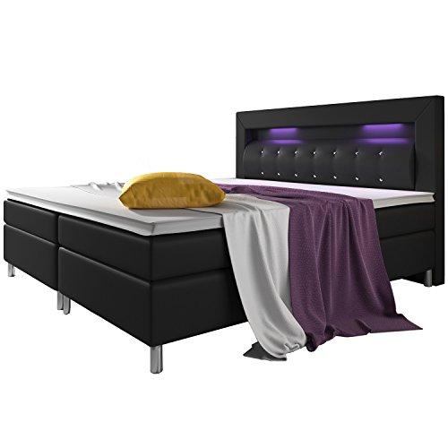 ArtLife Boxspringbett Montana 180 x 200 cm schwarz – Komplett Set mit Matratze und Topper – LED-Licht im Kopfteil – Bett aus Kunstleder und Holz - modern