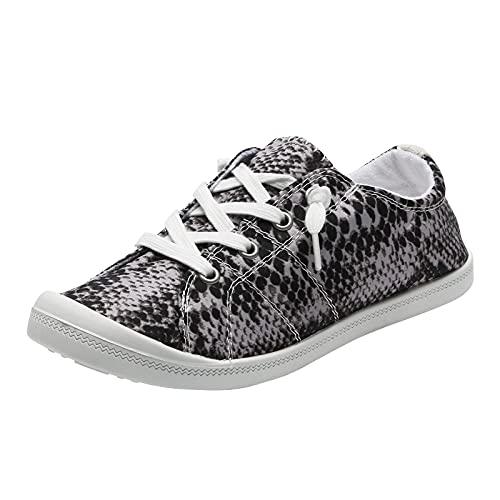 Kvinnor snörskor snörning skor tryck kanvasskor kanvas snörskor sneakers kvinnor sportig snörning fritidsskor, - 2 grå grå grå - 43 EU