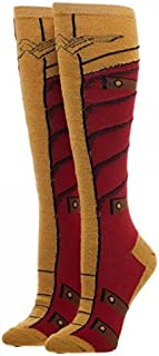 DC COMICS WONDER WOMAN Warrior Knee High Girl Socks With Red/Gold Lurex Yarn