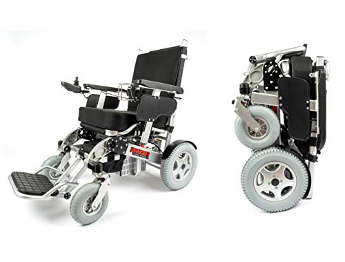 Porto Mobility Ranger Quattro (The Beast) Ultra Exclusive Foldable Electric Wheelchair Heavy Duty, Holds 550lbs 1000W Horse Power Dual Motor Folding Power Wheelchair (Silver, XL (Special Edition))