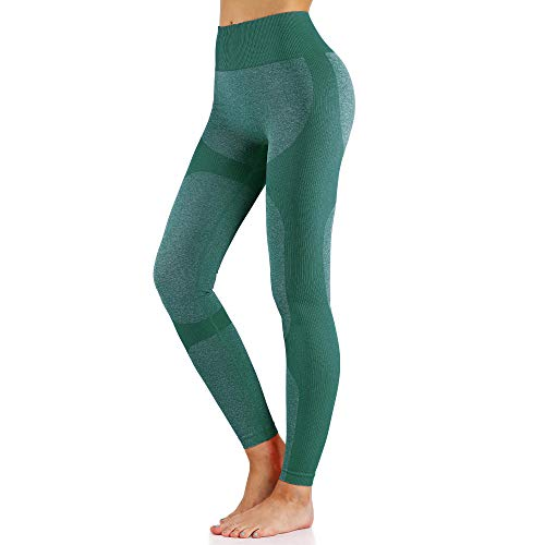 4-way stretch yoga-legging,Naadloze trainingsbroek met hoge taille, dunne cropped broek-green_M,Yogabroek extra zachte legging met zakken voor dames