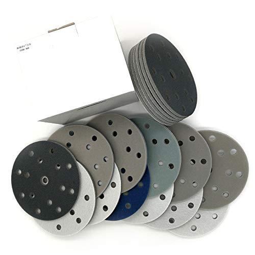 XKMY 15 mm 150 mm 15 agujeros 5 piezas de esponja flocada disco de lija de papel de lija húmedo y seco grano 300-3000 para pulir; pulido (grano: 1200 1500)