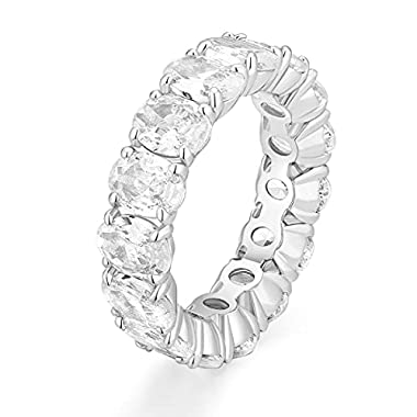 EAMTI Wedding Bands for Women Oval Cut Stackable CZ Cubic Zirconia Engagement Rings Eternity Band Rings Size 3-11