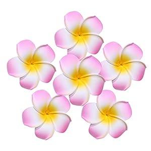 LW 50 pcs Artificial Plumeria Foam Egg Flower Frangipani Heads, Headband Wreath Hawaii Beach Party Wedding Decorations