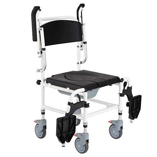Tidyard Accessibility Commode Wheelchair with 4 Castor Wheels and Rectangle Detachable Bucket Bathroom-Wheelchairs Mobility Aids & Daily Living Aids - Black