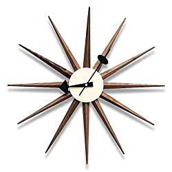 Classic Wooden Sunburst Wall Clock, Contemporary George Nelson Series Designed, Mid Century Handmade Antique 3D Star Burst Wall Clock, No Ticking Modern Quartz Decor Watch, 48Cm/19'',Walnut