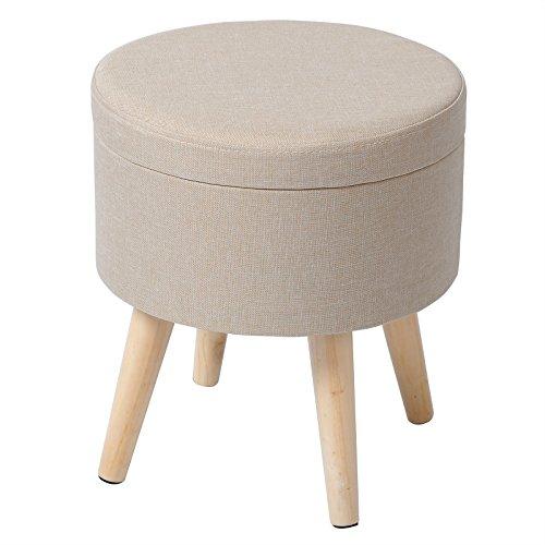 eSituro SOM0009 Sitzhocker Fußhocker Sitzbank Sitzwürfel Aufbewahrungsbox mit Stauraum Deckel Abnehmbar Leinen Cremeweiß