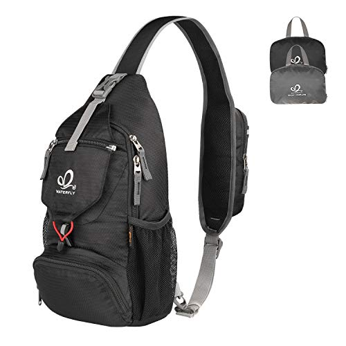 WATERFLY Packable Small Crossbody Sling Backpack Shoulder Chest Bag Daypack for Hiking Traveling (Black)