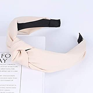 Hair band Womens Hair Accessories Fashion Solid Color Knot Hairbands Simple Cloth Headbands For Girls Wide Side Hair Hoops MJZCUICAN (Color : Beige, Size : Free)