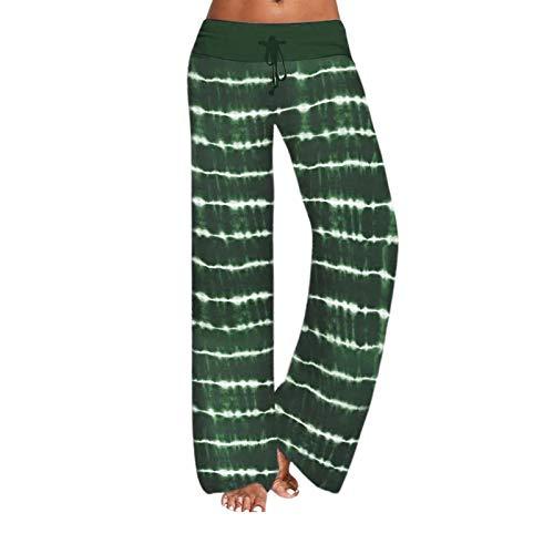 iniber Damen Yoga-Hose Schlafanzughose weich Pyjamahose Fitness Lange Stretch Drawstring Hosen Freizeithose Strandhose Weites Bein Hose