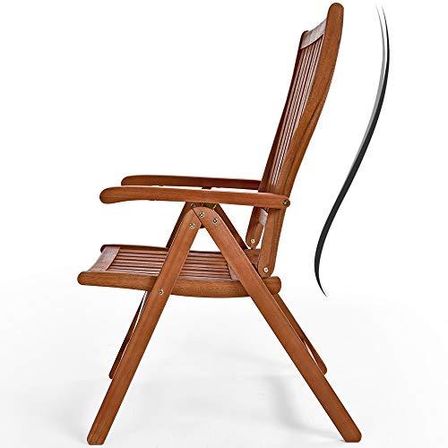 Casaria Sitzgruppe Vanamo 6+1 FSC®-zertifiziertes Eukalyptusholz klappbar 7-TLG Tisch Sitzgarnitur Holz Gartenmöbel Garten Set - 7