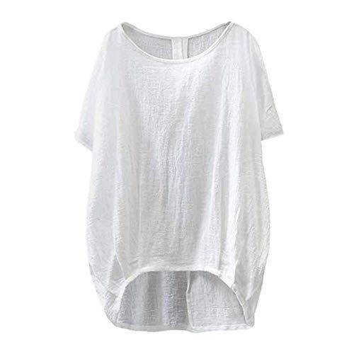 YEBIRAL Sommer Neu Damen Große Größen Leinen Einfarbig mit Rundhals Kurzarm T-Shirt Lose Tops Oberteile Bluse (EU-42/CN-XL, T-Weiß)