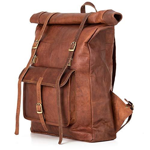 Berliner Bags Leeds Vero Pelle Zaino Borsa per Laptop Uomo Donna Vintage Marrone XL