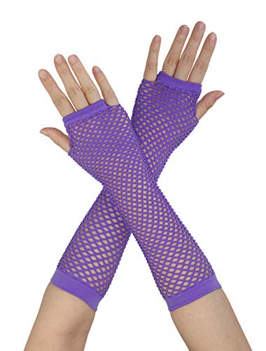 sourcing map 2 Paar Damen Ellenbogenlänge Fingerlose Fischnetz Handschuhe Hand Dekoration Violett Kurz-1 Paar