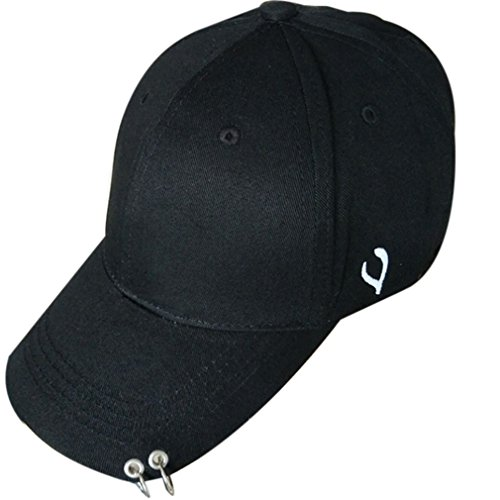 Belsen Damen Stift Ring Reifen Vintage Baseball Cap Trucker Hat (Two Rings schwarz)