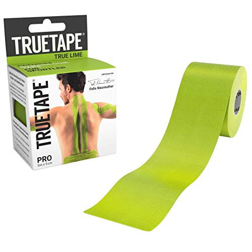 TRUETAPE® PRO - Kinesiologie Tape | Perfekter Tragekomfort | 5m x 5cm | ungeschnitten | Lime | Kinesiotape |