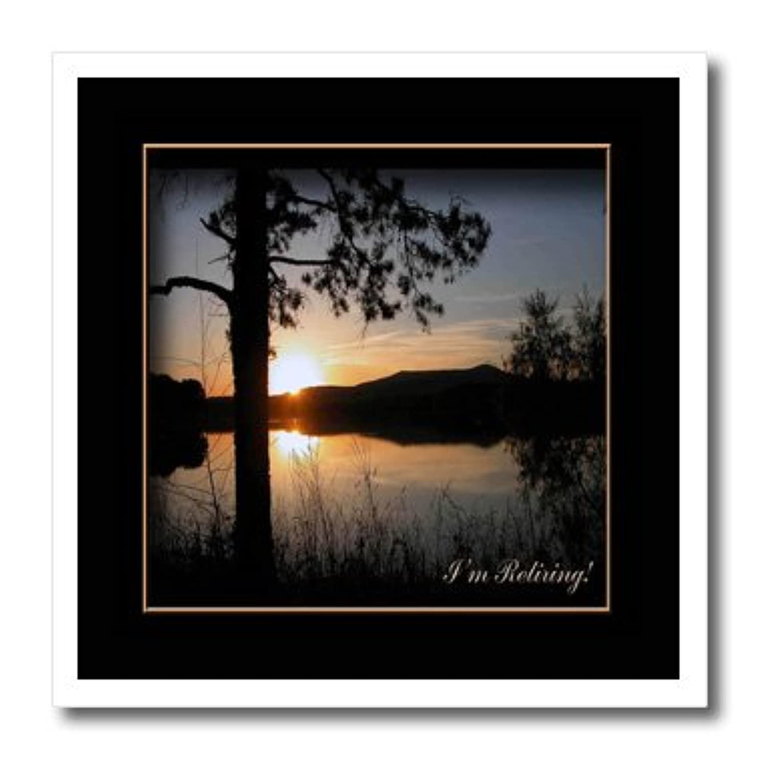 3dRose ht_43421_3 Im Retiring, Mountain Lake Sunset-Iron on Heat Transfer for White Material, 10 by 10-Inch