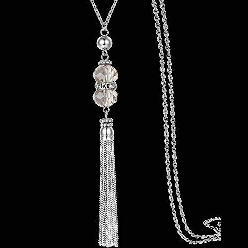 TWWTHX Collar gótico Punk Mujer Acrílico Cuentas geométricas Cuerda Larga Collar de Cadena Mujer Accesorios de Cuello Suéter Colgante Diseño Creativo Collares-B.