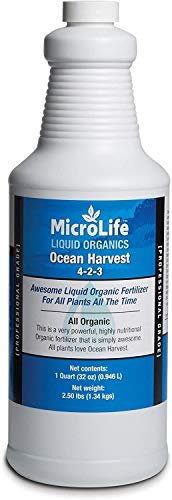 MicroLife Ocean Harvest (4-2-3) Professional Grade Organic Liquid Fertilizer Concentrate for All Plants All the Time, 1 Quart