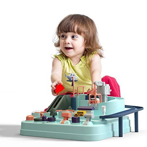 HAMKAW Piste de Voiture Jouet, Jeu Piste de Course pour Les Tout-Petits, Circuit Jouet Voiture Flexible Enfant, Multicolore Effet, Simulation en Forme de Macaron, Jouets Educatifs