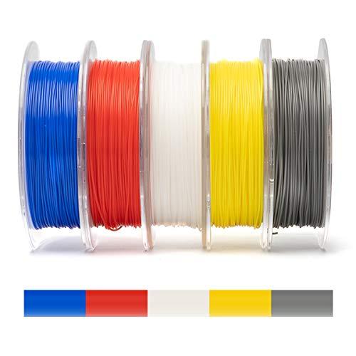 Hello PLA Filaments 1.75mm, 5kg Filaments d'impression 3D, y Compris l'argent Bleu Blanc Rouge Jaune, Utilisé for L'imprimante 3D Et Un Stylo 3D