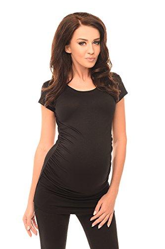 Purpless Damen Schlichtes Umstands Kurzarm Shirt Schwangerschafts Top T-Shirt Geschenk für die Werdende Mutter Umstandskleidung 5010 (36, Black)