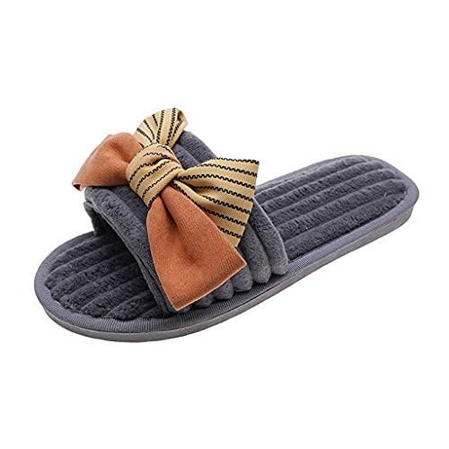 LXDWJ Zapatos de Mujer Zapatillas de Bloque de Color con Nudo de Lazo Zapatos Casuales de Mujer de Moda Zapatillas de Mujer al Aire Libre Transpirables (Color : Gray, Size : 38)