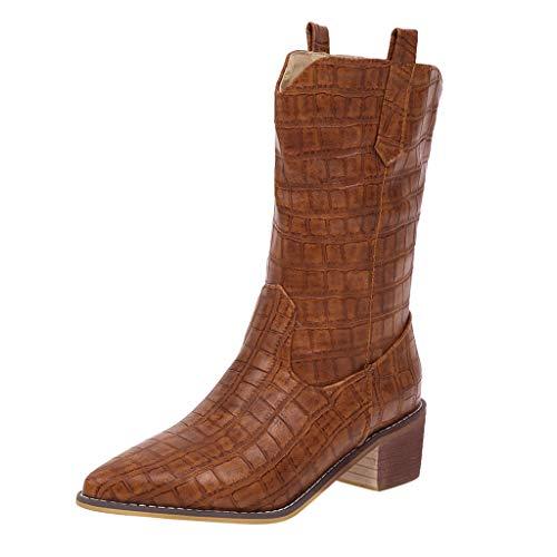 Frauen Stiefel Square Heels Wies Slip-On Casual Bestickte Rodeo Cowboy Stiefel Krokoprägung Martin Stiefel(39.5 EU,Braun)