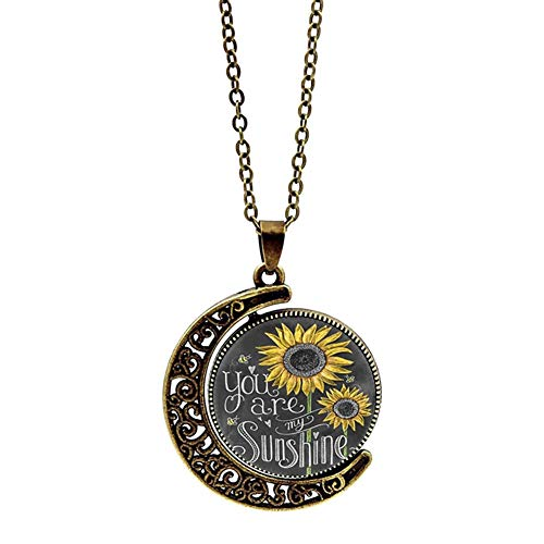 Makluce Inspirational Necklace, Sunflower Pendant Necklaces You Are My Sunshine Pendant Jewelry Gifts For Birthday Christmas Valentines Day (Color : 2PCS)