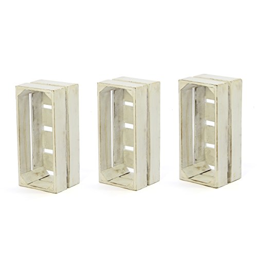 """divero 3er-Set Vintage Holzkiste weiß Staubox Weinkiste Obstkiste Größe """"XS"""" 36 x 17cm Höhe 15cm Stapelbox Spielzeugkiste Regal-Box"""